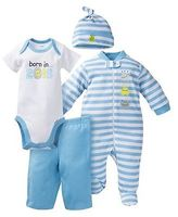 Gerber Onesies Baby Top & Bottom 4 Piece Set - Monster Blue