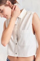 Silence & Noise Silence + Noise Sleeveless Poplin Button-Down Blouse