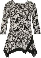 Izabel London Long Sleeve Floral Print Trim Detail Top