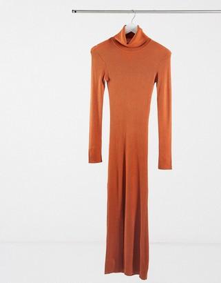 Y.A.S long sleeve roll neck jumper dress in rust