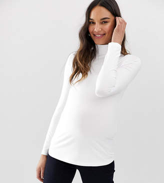 Asos DESIGN Maternity turtleneck long sleeve top in white