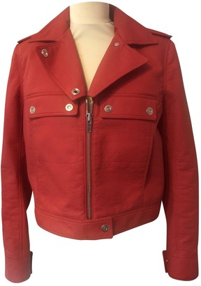 Courreges Red Cotton Leather Jacket for Women