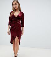TFNC Petite Petite velvet midi wrap dress in burgundy