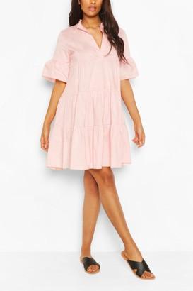 boohoo Maternity Tiered Cotton Smock Dress