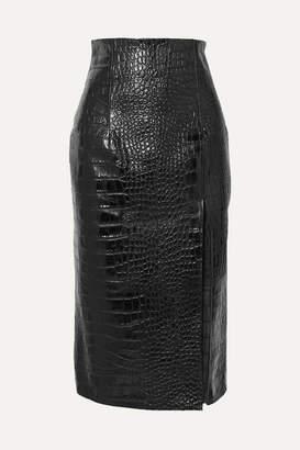 16Arlington Lipton Croc-effect Glossed-leather Midi Skirt - Black