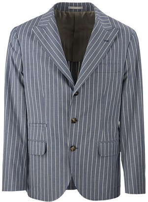 Brunello Cucinelli Comfort cotton chalk stripe blazer with large peak lapels