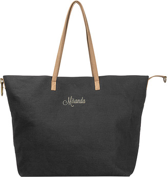 Cathy's Concepts Totebags Black - Black Personalized Overnight Tote