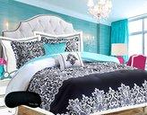 Teen Girls Bedding Damask Comforter SUPER SET Black and White Aqua Blue Teal Full Queen + 2 Shams + 2 GORGEOUS Throw Pillows & Home Style Brand Sleep Mask HUGE 6 Pc. Bedspread Sets for Girl Kids