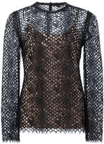 Alexander Wang perforated lace top - women - Cotton/Nylon/Rayon - 4