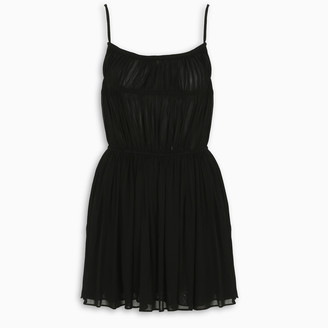 Saint Laurent Black ruched mini dress