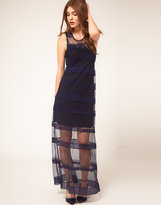 ASOS Maxi Dress with Embroidered Stripe