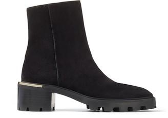 Jimmy Choo MELODIE 35 Black Velvet Suede Block Heel Boots with Mirrored Trim