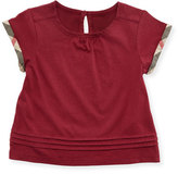 Burberry Gisselle Pintucked Jersey Tee, Dark Plum Pink, Size 6M-3