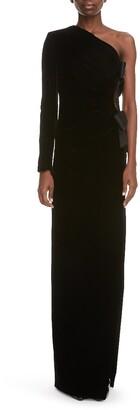 Saint Laurent Bow Detail One-Shoulder Velvet Gown