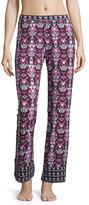 Cosabella Clara Printed Wide-Leg Pants, Black/Deep Ruby