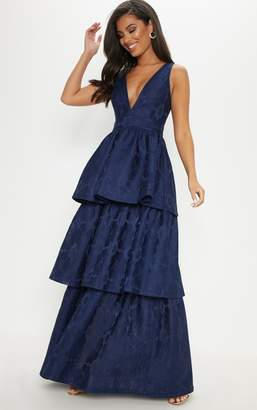 PrettyLittleThing Navy Bonded Lace Tiered Maxi Dress