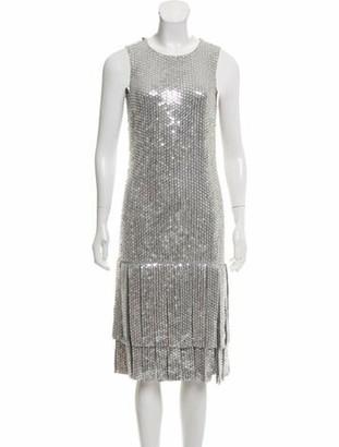 Michael Kors Silk Embellished Dress Metallic