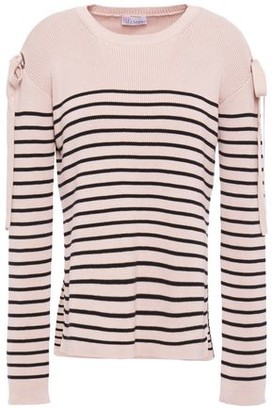 RED Valentino Bow-embellished Striped Ribbed Cotton Sweater