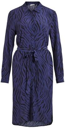 Vila Animal Print Shirt Dress with Tie-Waist