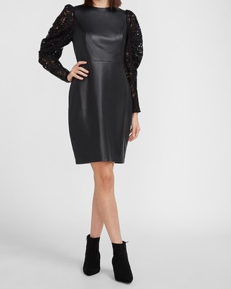 Express Vegan Leather Lace Puff Sleeve Dress