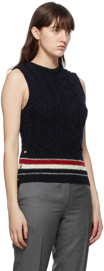 Thumbnail for your product : Thom Browne Online Exclusive Navy Mohair Aran Cable Classic RWB Stripe Vest