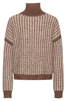 HUGO BOSS Rollneck Sweater With Two Tone Knitted Structure - Brown