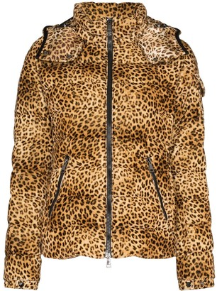 Moncler Bady leopard print down coat
