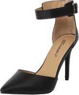Breckelles Women's Faux Leather Pointed Toe Ankle Strap High Heel Stiletto Pumps 8