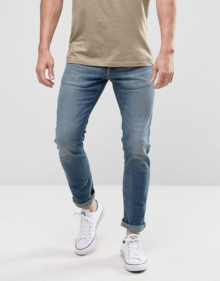 Jack and Jones Intelligence Slim Fit Jeans In Light Blue Denim