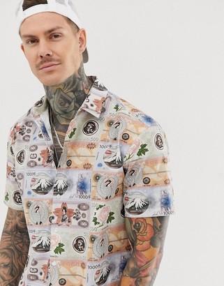 Asos Design DESIGN oversized short sleeve shirt in vintage money print-White