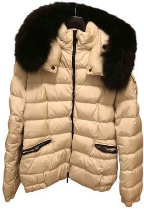 Moncler Fur Hood White Coat for Women