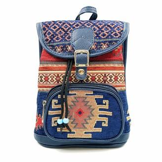 Virtuem Handbag for Women Shoulder Bag Mini Backpack School Bag Ladies Travel Handbag Unique and Traditional Bags for Women Multi Colour Bag Ethnic Hobo Hippie Bohemian Aztec Style with Zip & Pocket