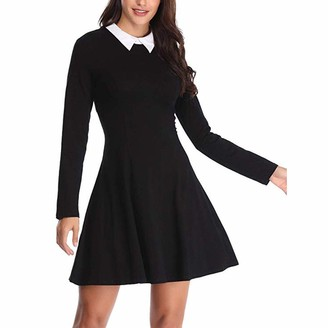 OPAKY Women's Long Sleeve Casual O-Neck Collar Fit and Flare Skater Mini Dress Women's Long Sleeve Round Neck Solid Color Dress(UK:12/CN:M