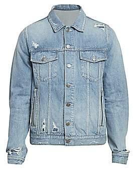 Balmain Men's Monogram-Back Denim Jacket