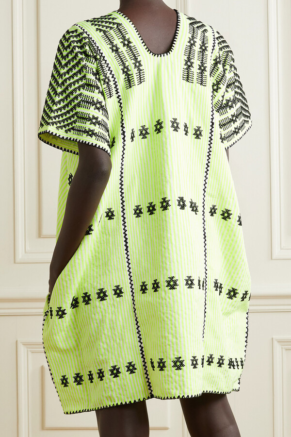 Thumbnail for your product : Pippa + Net Sustain Embroidered Striped Neon Cotton Huipil - Yellow