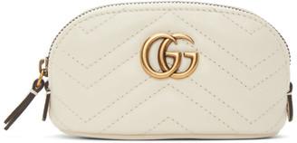 Gucci White Mini GG Marmont 2.0 Coin Pouch