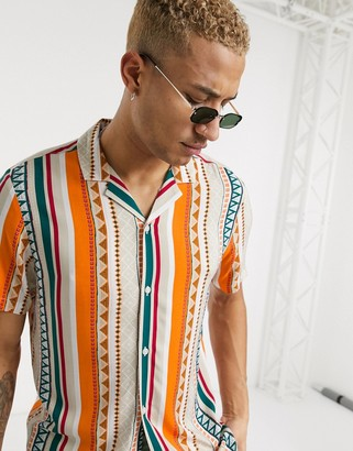 ASOS DESIGN regular fit slub viscose shirt in geo-tribal stripe