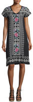 Johnny Was Tara Short-Sleeve Linen Embroidered Dress