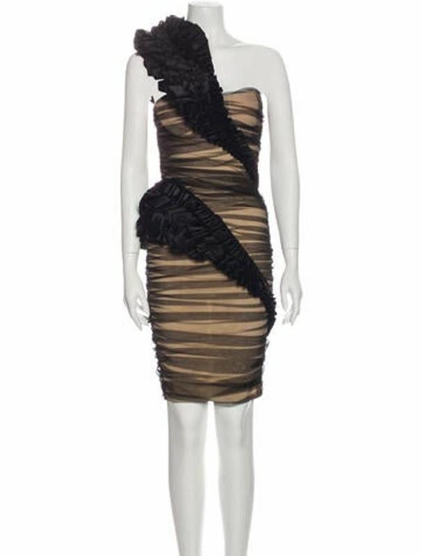 Thomas Wylde One-Shoulder Midi Length Dress Black