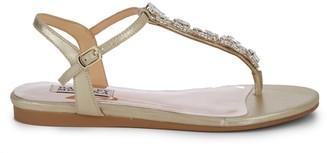 Badgley Mischka Sissi Crystal Embellished Metallic Leather Gladiator Sandals