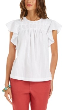 Style&Co. Style & Co Striped Flutter-Sleeve Top, Created for Macy's