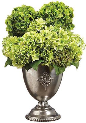 """One Kings Lane 31"""" Leafy Hydrangea Arrangement - Faux - arrangement, green; vessel, burnished silver"""