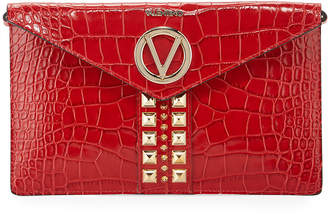 Mario Valentino Valentino By Brienne Spiked Leather Envelope Shoulder Bag