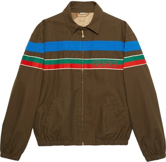 Gucci Logo-Stripe Zip-Up Jacket