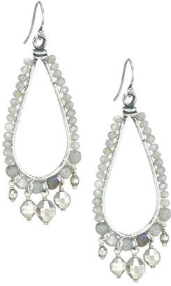 Chan Luu Sterling Silver & Labradorite Teardrop Hoop Earrings