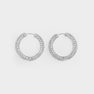 Numbering Pave Hoop Earrings In Platinum Plated Brass And Cubic Zircornia