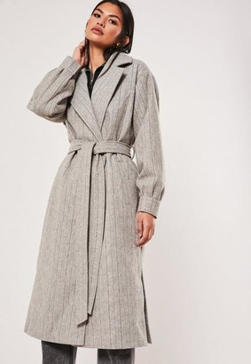 Missguided Gray Balloon Sleeve Pinstripe Formal Coat
