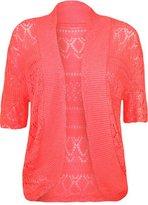 FashionMark Women's Plus Size Crochet Knitted Short Sleeve Cardigan (Baby Pink)