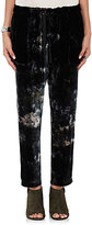 Raquel Allegra Women's Tie-Dyed Velvet Drawstring Pants-BLACK