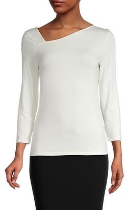 Donna Karan Asymmetrical-Neckline Top